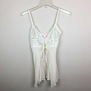 Victoria's Secret cream silk lace teddy lingerie